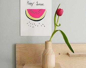 Hand Pulled Screenprint, Watermelon 'Happy Summer'