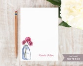 Personalized Notepad - JAR FLOWERS - Stationery / Stationary Notepad - rustic painted pink flower in mason jar watercolor thank you notes