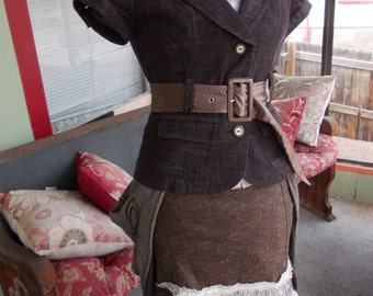 Chocolate Bustle Bodice: Steampunk Upcycled Bustle Blouse in Women's MEDIUM