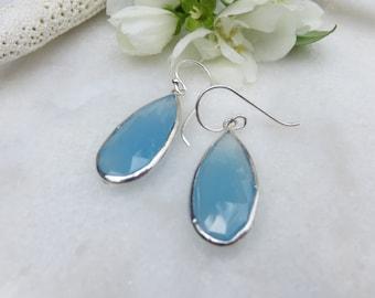 Blue Chalcedony Earrings, Sterling Silver Earrings, Faceted Chalcedony Earrings, Semi Precious Gemstone Earrings, Chalcedony Drop Earrings