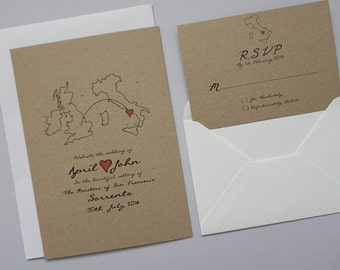 Rustic Wedding Abroad Invitation Set // Classic