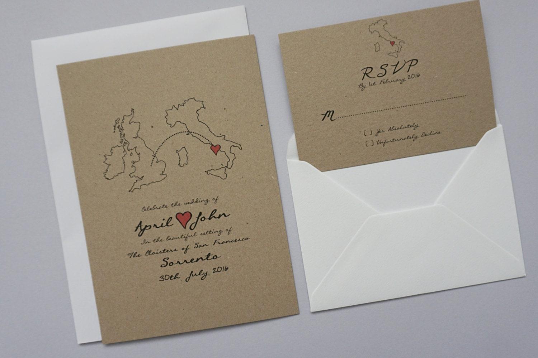 rustic wedding abroad invitation set classic