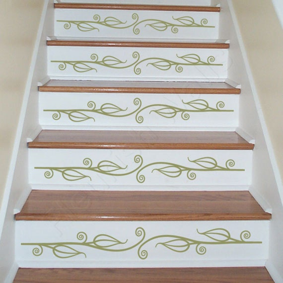 Carved Wood Stair Risers Stair Ideas Stamped Leather: Vinyl Stair Decals For Staircase Riser Decor Decorative