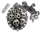 Skull necklace glow in dark skull jewelry skulls cameo necklace gothic jewelry deathrock gothic choker psychobilly victorian gothic wedding