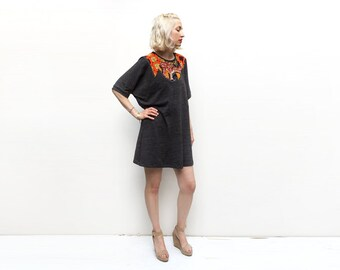 Tunic Dress, Brown Dress, Jersey Dress, African Print Dress, Tshirt Dress, Loose Clothing