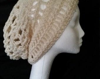 Cream Slouchy Crochet Hat