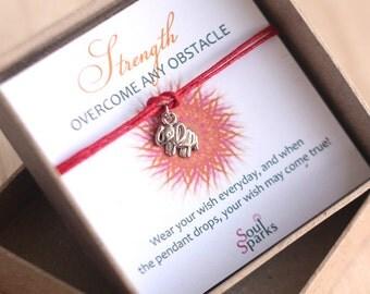 Elephant Wish Bracelet- Strength Overcome Any Obstacle, Tiny Elephant, Wish Bracelet, Red Yoga bracelet, Friendship Bracelet, Yoga Gift