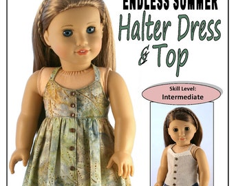 Pixie Faire Forever 18 Inches Endless Summer Halter Dress and Top Doll Clothes Pattern for 18 inch American Girl Dolls - PDF
