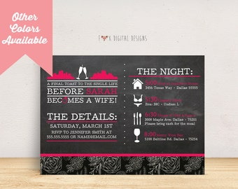 City Landscape Timeline Bachelorette Party Invite - Custom - Printable