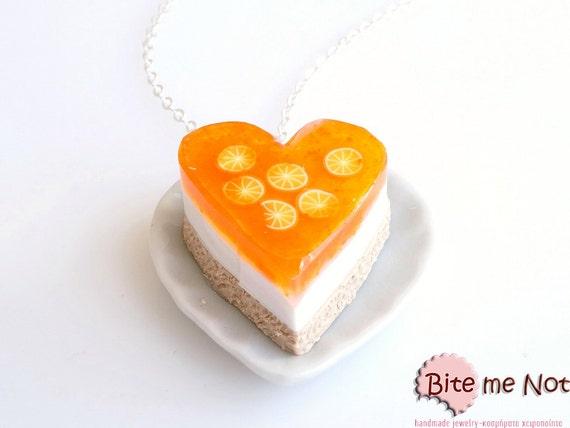 Food Jewelry Orange Jelly Cheesecake Necklace - Miniature Food Jewelry