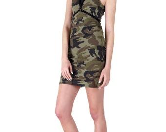Camo Camouflage Studded Tank Dress