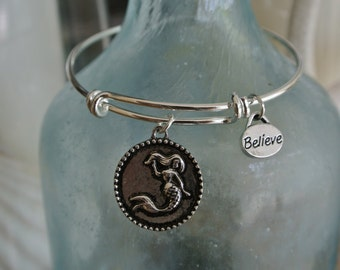 Mermaid bracelet // adjustable bangle bracelet // mermaid charm