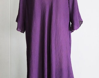 Plus Size Tunic Fits 1X 2X Sheer Lightweight Summer Sundress Tunic Blouse Floral Neckline Purple
