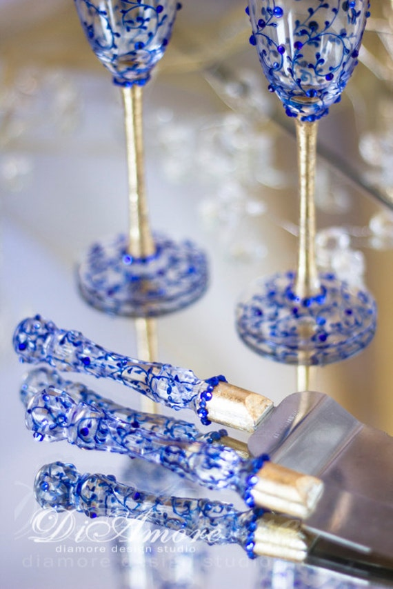Royal Blue And Gold Personalized Wedding Set Champagne Flutes
