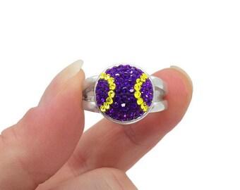 Purple and Gold Swarovski Crystal Baseball Ring