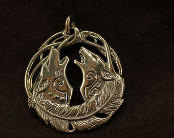 Wolf Coyote Couple bronze pendant necklace