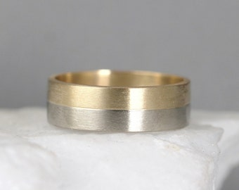 Yellow & White Gold Wedding Band - 14K Gold Mens or Ladies Wedding Bands - Matte Finish - Commitment Rings - 2 Tone Bands - Wedding Ring