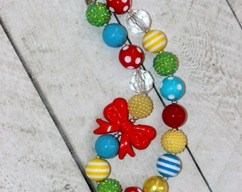 Circus bubblegum chunky necklace for girls. Birthday red , green , yellow, and blue girl necklace. Birthday present. Christmas present.