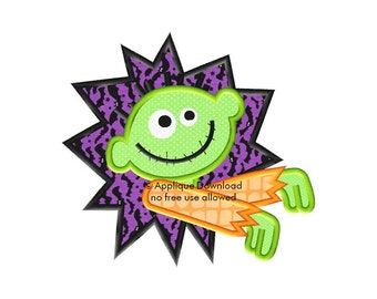 Halloween ZOMBIE Boy Burst Applique Design - Instant EMAIL With Download - for Embroidery Machines