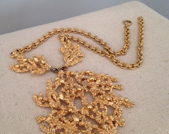 Gold Coral Statement Necklace