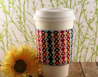 Fabric Coffee Cozy / Vertical Diamonds Coffee Cozy / Diamond Coffee Cozy / Coffee Cozy / Tea Cozy