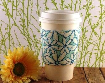 Fabric Coffee Cozy / White Flowers Coffee Cozy / Flower Coffee Cozy / Coffee Cozy / Tea Cozy