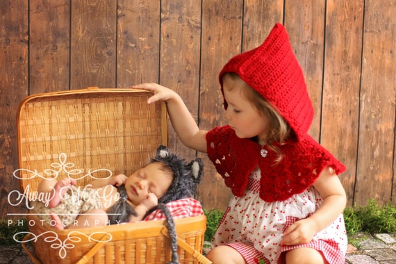 Sibling Photo Outfit - Red Riding Hood Capelet & Wolf Bonnet - Sibling or Twin Prop Set - Twin Photo Prop - Sibling Halloween Costumes
