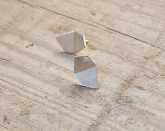 geometric silver studs, geometric studs, silver stud earrings, minimalist earrings, minimalist silver studs, geometric earrings,