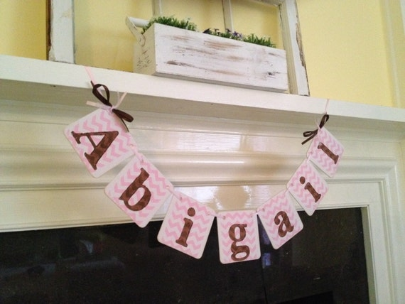 Baby Shower Decorations Chevron Stripes Baby Girl Name Banner Baby