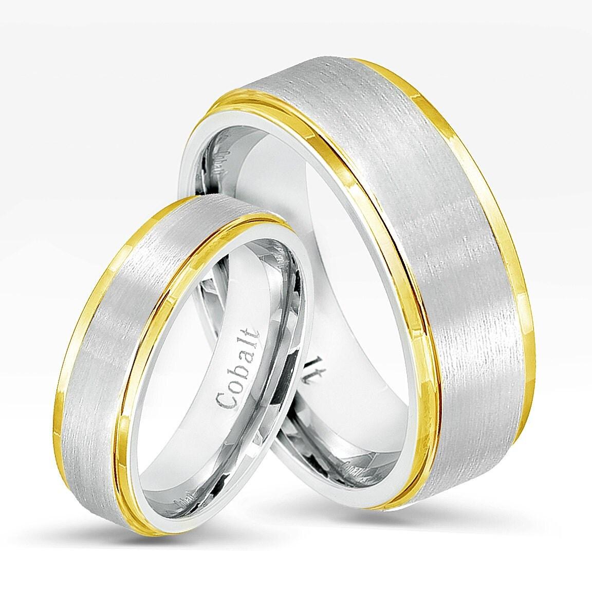 Two Tone Wedding Bands: 2-Tone Cobalt Wedding Band SetComfort Fit Wedding Bands 8mm