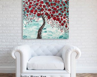Cherry Blossom Art Print on Canvas, Tree Art Print, Giclee Print, Red Tree Painting, Red Print, Turquoise Painting, Colorful Artwork