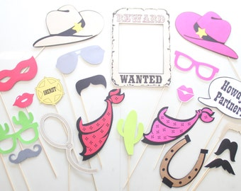 21pc *Western Photobooth Props/Cowboy/Cowgirl Party Photo Booth Props