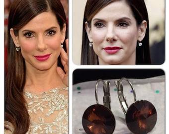 Dark Brown Smokey Topaz Celebrity Swarovski Rivoli Crystal Leverback French Clip Earrings Wedding Jewelry, Bride, Bridesmaid Gift