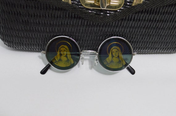 Virgin Mary Hologram Round Sunglasses Psychedelic Soft by ...