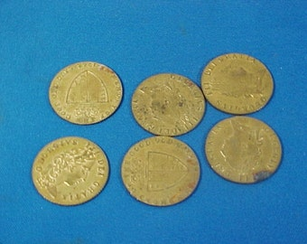 Antique Brass Game Tokens, King George the 3rd, Imitation Coins