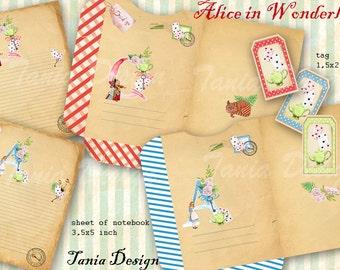 Alice in Wonderland-Templates Envelope,Card,tag -  Digital Collage Sheet - INSTANT DOWNLOAD