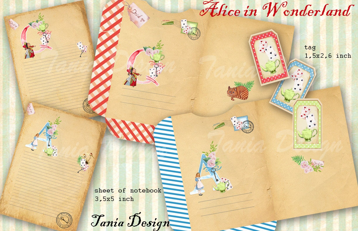 alice in wonderland tags template - alice in wonderland templates envelopecardtag digital