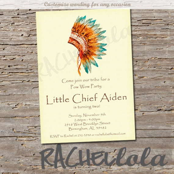 Indian birthday party invitation, Native American headdress, chief ...