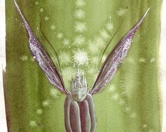 Green Faerie A4 Art Print / Faerie Print / Watercolour Faerie / Fairy / Spiritual / Healing colours / Greens / Sitting Faerie / Art Print