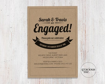 Engagement Invitation, Printable, Made to Order, Engagement Party Invitation
