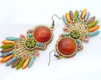 Beaded Earrings Tutorial, Bead Embroidery Earrings Tutorial, Beading Pattern Earrings, Dangle Earrings Pattern