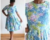 ON SALE Plein Air Dress * Vintage 1960s watercolor print dress * Size 10