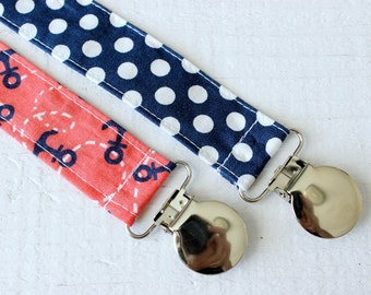 Universal Binky Clip Set~ Pacifier Clips~ Made with Michael Miller Little Anchors and Riley Blake Navy Dot Fabrics