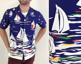 Blue and White Sailboat Motif Resort Shirt - Medium