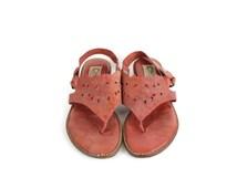 Coral Leather Vintage Summer Sandals / 1970s Vintage Stitched Sandals