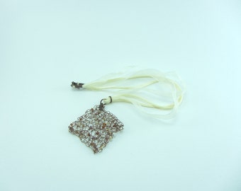 Bronze knitted wire pendant, Hand knitted necklace, Jewellery