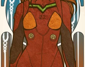 Asuka Langley Soryu - ArtNouveau Print