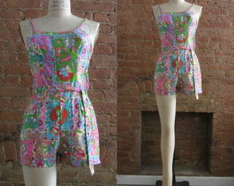 1960s Rose Marie Reid floral playsuit | 60's Retro Psychedelic Groovy