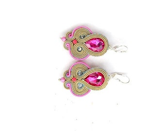 Fashion Pink Dangle Earrings , Unique Handmade Soutache Earrings with Crystals