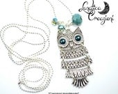 Owl long pendant and crystal blue water